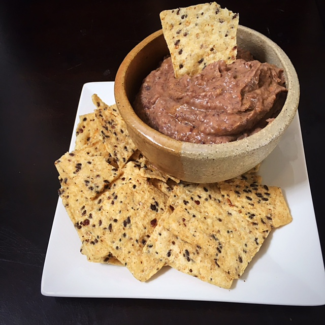 Black bean dip with chips