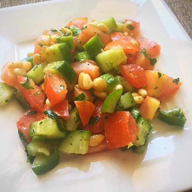 Cucumber Tomato Pine nut Salad