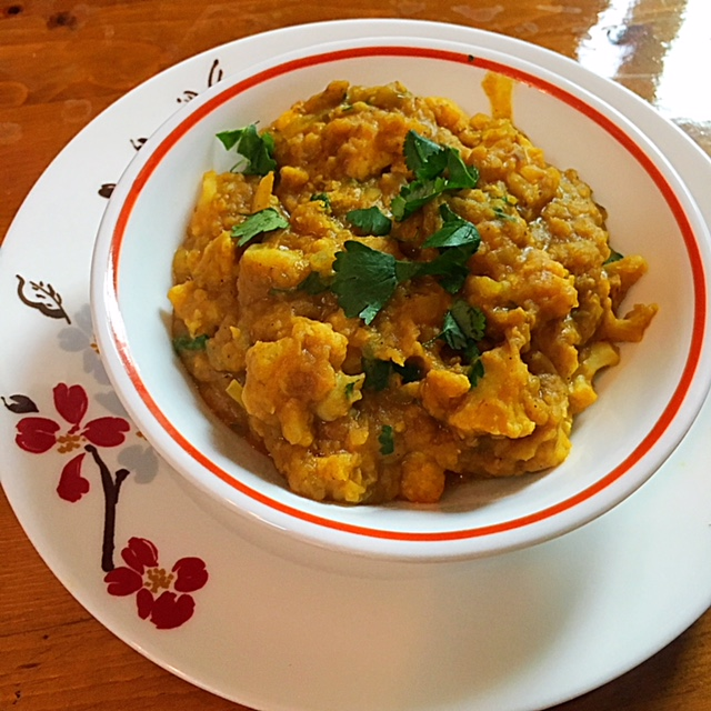 Spicy Red Lentils with Cauliflower