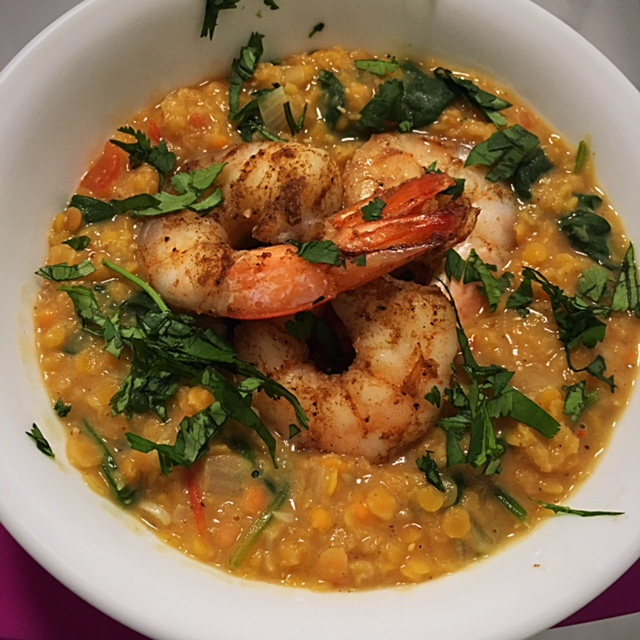 Indian spiced lentils with shrimp dinner recipe nutrition by erin indian spiced lentils with shrimp forumfinder Choice Image