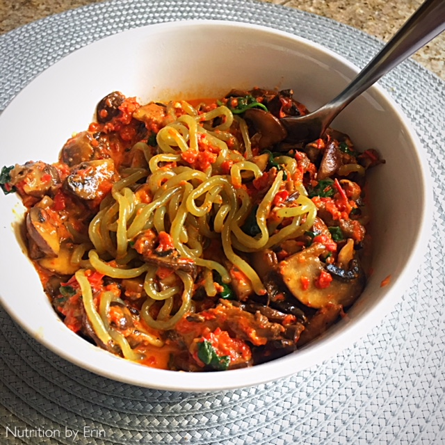 Low Carb Pasta with Red Pepper Sauce