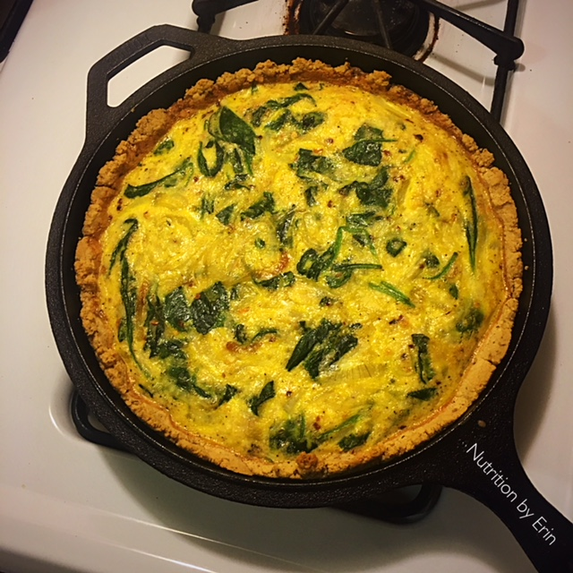 Keto Spinach Onion Quiche Brunch Recipe Nutrition By Erin
