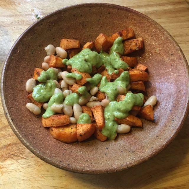 Roasted Sweet potato white bean salad
