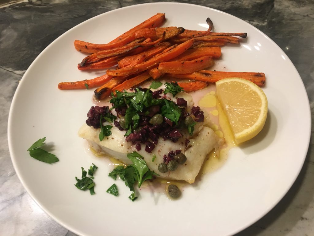 Broiled Cod with Lemon olive caper sauce- Plated fish with sauce